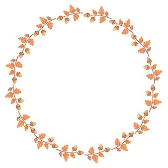 Ilustração do quadro de outono - quadro feito de árvore de bolota