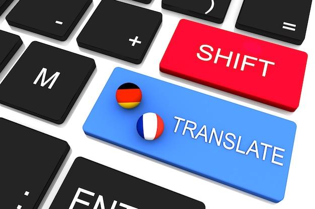 Ilustração do renderizador 3d. botão de tradução no teclado do computador. traduzindo o conceito.