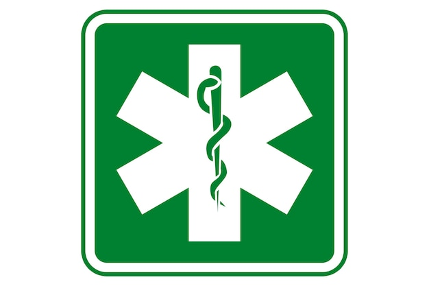 Ilustração do símbolo de saúde e farmácia com fundo verde
