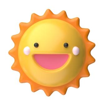 Ilustração do sol sorridente em design 3d