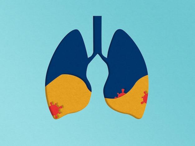 Ilustração dos pulmões de papercut com vírus. conceito de pneumonia. problema pandêmico do coronavírus covid-19