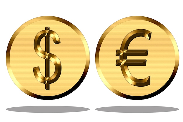 Ilustração dos símbolos do peso e do euro em ouro sobre fundo branco.