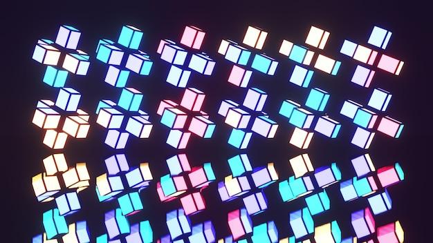 Ilustração em 3d 4k uhd de blocos geométricos em néon colorido