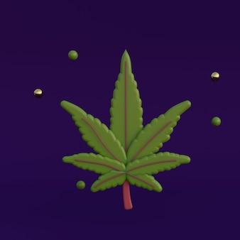 Ilustração em 3d da folha de cannabis dos desenhos animados