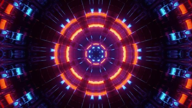 Ilustração em 3d de néon brilhante circular abstrato