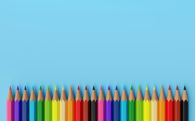 Ilustração em 3d de papelaria com cor de madeira colorida mínima