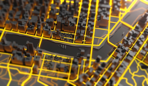 Ilustração em 3d futurista da mega paisagem urbana