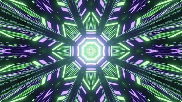 Ilustração em 3d iridescente caleidoscópica de padrões geométricos polangangulares formados pela repetição de luzes luminosas verdes e azuis em fundo preto