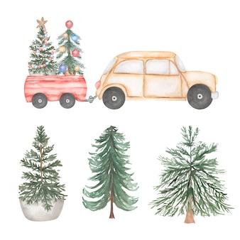 Ilustração em aquarela. carro bege com árvore de natal e presentes