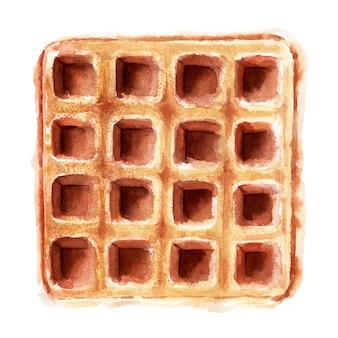 Ilustração em aquarela com bolachas de várias formas. waffles de coração, waffles quadrados e redondos