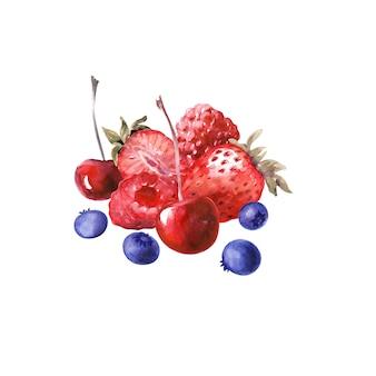 Ilustração em aquarela com vários cupcakes e morangos maduros, mirtilos, cerejas e framboesas