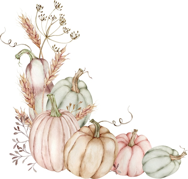 Ilustração em aquarela da borda do canto com abóboras e espigas de trigo