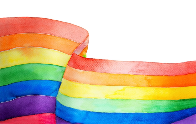 Ilustração em aquarela de arco-íris com bandeira multicolorida isolada no fundo branco
