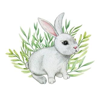 Ilustração em aquarela de coelhinha, composição de páscoa, decoração de coelhinho da páscoa