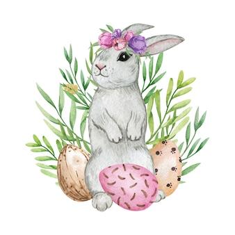 Ilustração em aquarela de coelho de coelhinho da páscoa, composição de ovos de páscoa, decoração de páscoa