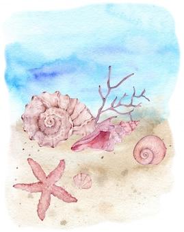 Ilustração em aquarela de conchas subaquáticas, estrelas do mar e algas na costa da praia.
