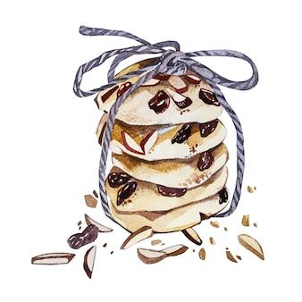 Ilustração em aquarela de cookies desenhados à mão isolada