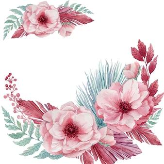Ilustração em aquarela de delicadas flores de anêmona e galhos tropicais azuis. uma coroa de flores cor de rosa e folhas de palmeira azul.