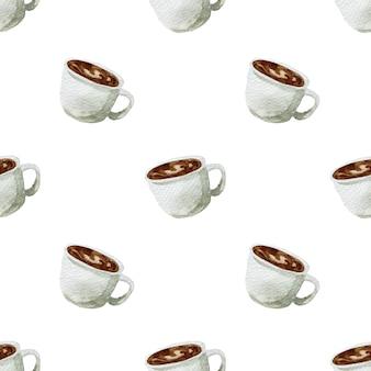 Ilustração em aquarela de esboço desenhado à mão café da manhã de xícara de café