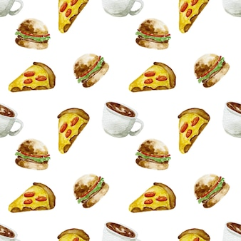 Ilustração em aquarela de esboço desenhado à mão fast food de comida tradicional americana fatia de hambúrguer de pizza e café quente