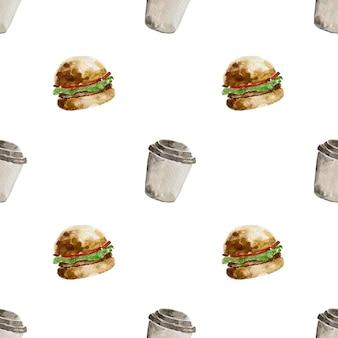 Ilustração em aquarela de esboço desenhado à mão fast food de hambúrguer de comida tradicional americana e café quente