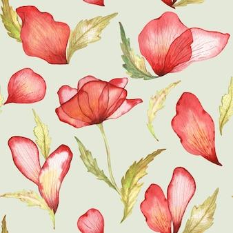 Ilustração em aquarela de flores e pétalas de papoilas vermelhas