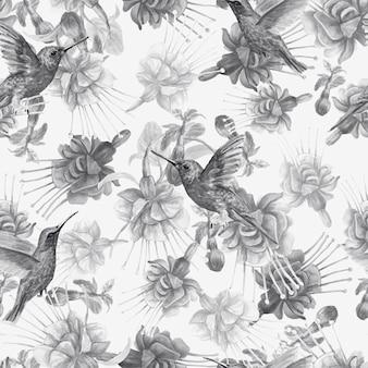 Ilustração em aquarela de flores fúcsia pássaros beija-flor