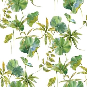 Ilustração em aquarela de folha padrão sem emenda em fundo branco