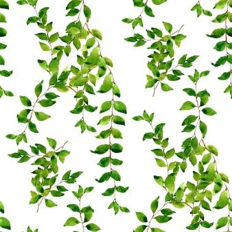 Ilustração em aquarela de folha padrão sem emenda