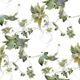 Ilustração em aquarela de folha, sem costura padrão em branco