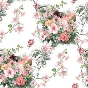 Ilustração em aquarela de folhas e flores, sem costura padrão