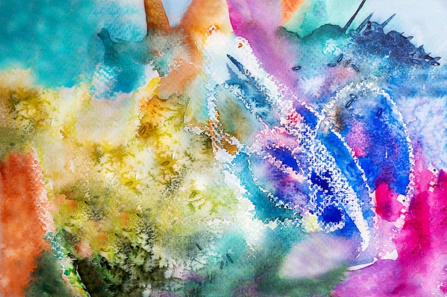 Ilustração em aquarela de fundo multicolorido com espaço de cópia