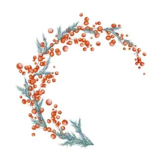 Ilustração em aquarela de guirlanda de natal ramos de frutas vermelhas isoladas no fundo branco