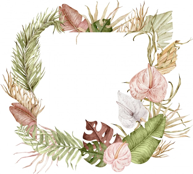 Ilustração em aquarela de moldura quadrada tropical com folhas exóticas e flores de antúrio