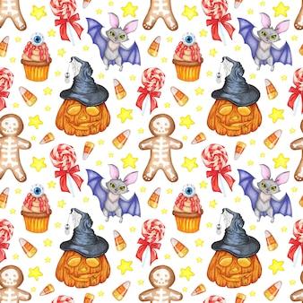 Ilustração em aquarela de padrão de halloween. impressão de repetição contínua. pirulito de biscoito de morcego de abóbora