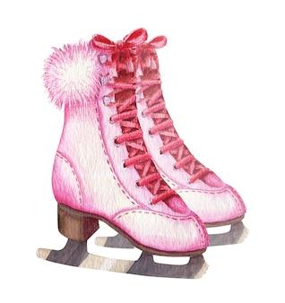 Ilustração em aquarela de par rosa vintage feminino patins de gelo com pelo isolado