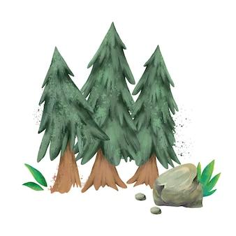 Ilustração em aquarela de pinheiro, floresta perene, cartão de natal