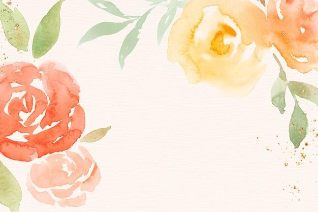 Ilustração em aquarela de primavera com moldura rosa laranja