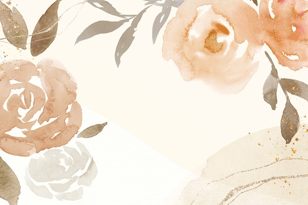Ilustração em aquarela de primavera com moldura rosa marrom