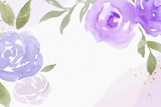 Ilustração em aquarela de primavera com moldura rosa roxa