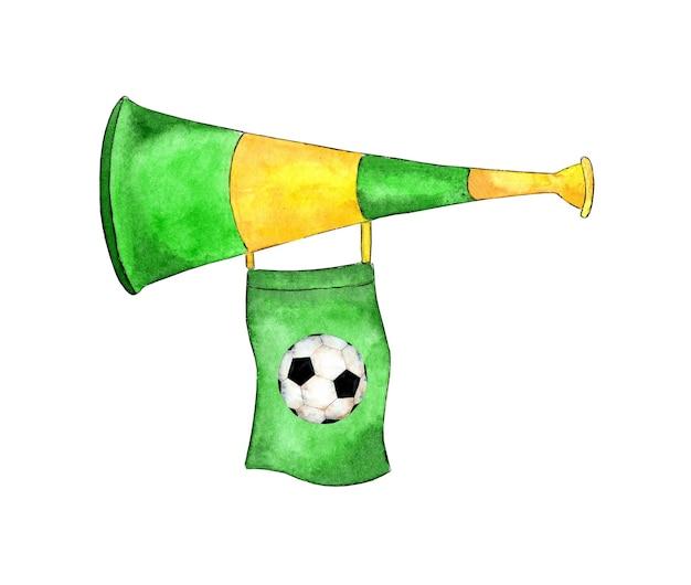 Ilustração em aquarela de um apito de fã de futebol verde e amarelo com uma bandeira e uma bola