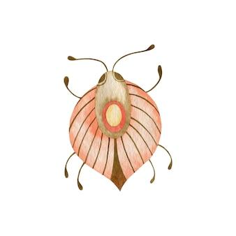 Ilustração em aquarela de um besouro no estilo boho isolado no inseto de fundo branco
