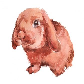 Ilustração em aquarela de um coelhinho da páscoa