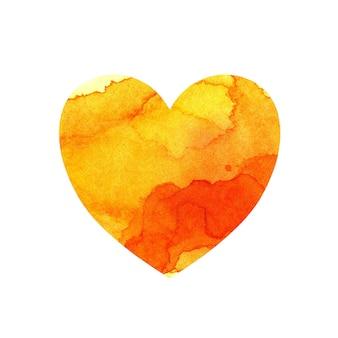 Ilustração em aquarela de um coração multicolorido com manchas e tons de tinta amarela