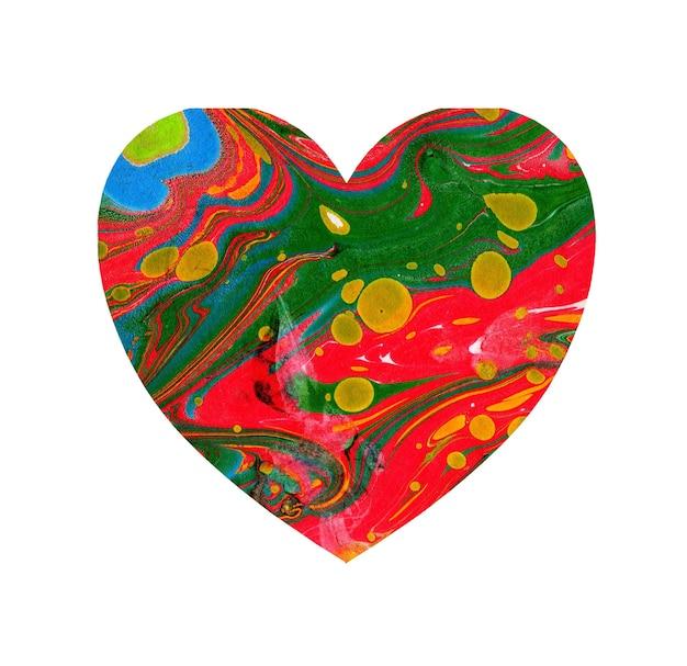 Ilustração em aquarela de um coração multicolorido com manchas e tons de tinta