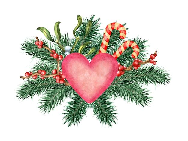 Ilustração em aquarela de um coração rosa decorado com ramos de pinheiro