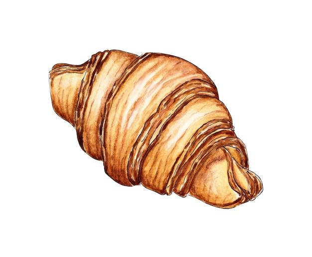 Ilustração em aquarela de um croissant pão delicioso no café da manhã lanches de confeitaria closeup