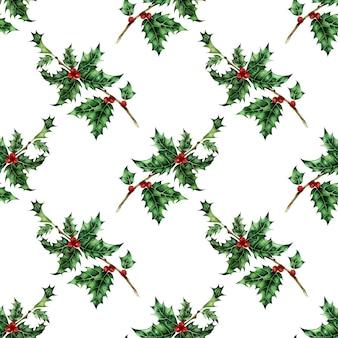 Ilustração em aquarela de um padrão de azevinho impressão de feriado repetitivo sem costura ano novo e natal