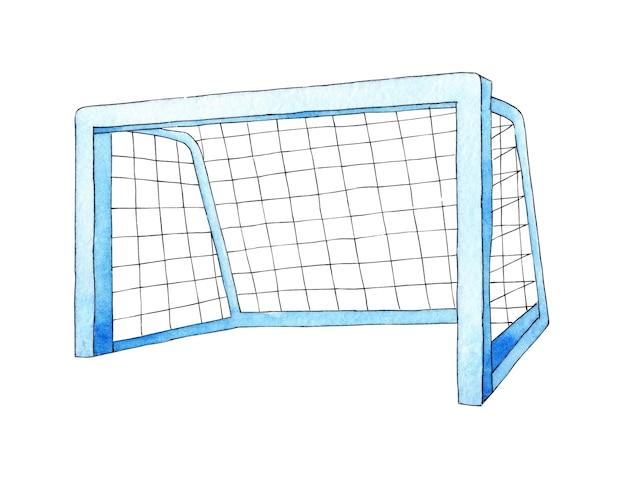 Ilustração em aquarela de uma baliza de futebol equipamento desportivo rede barra barra transversal