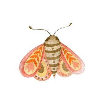 Ilustração em aquarela de uma borboleta no estilo boho isolada no fundo branco